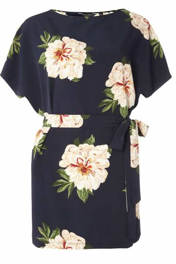 Navy Floral Tie Tunic