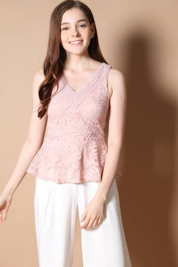 Abby V Neck Peplum Top in Dusty Pink
