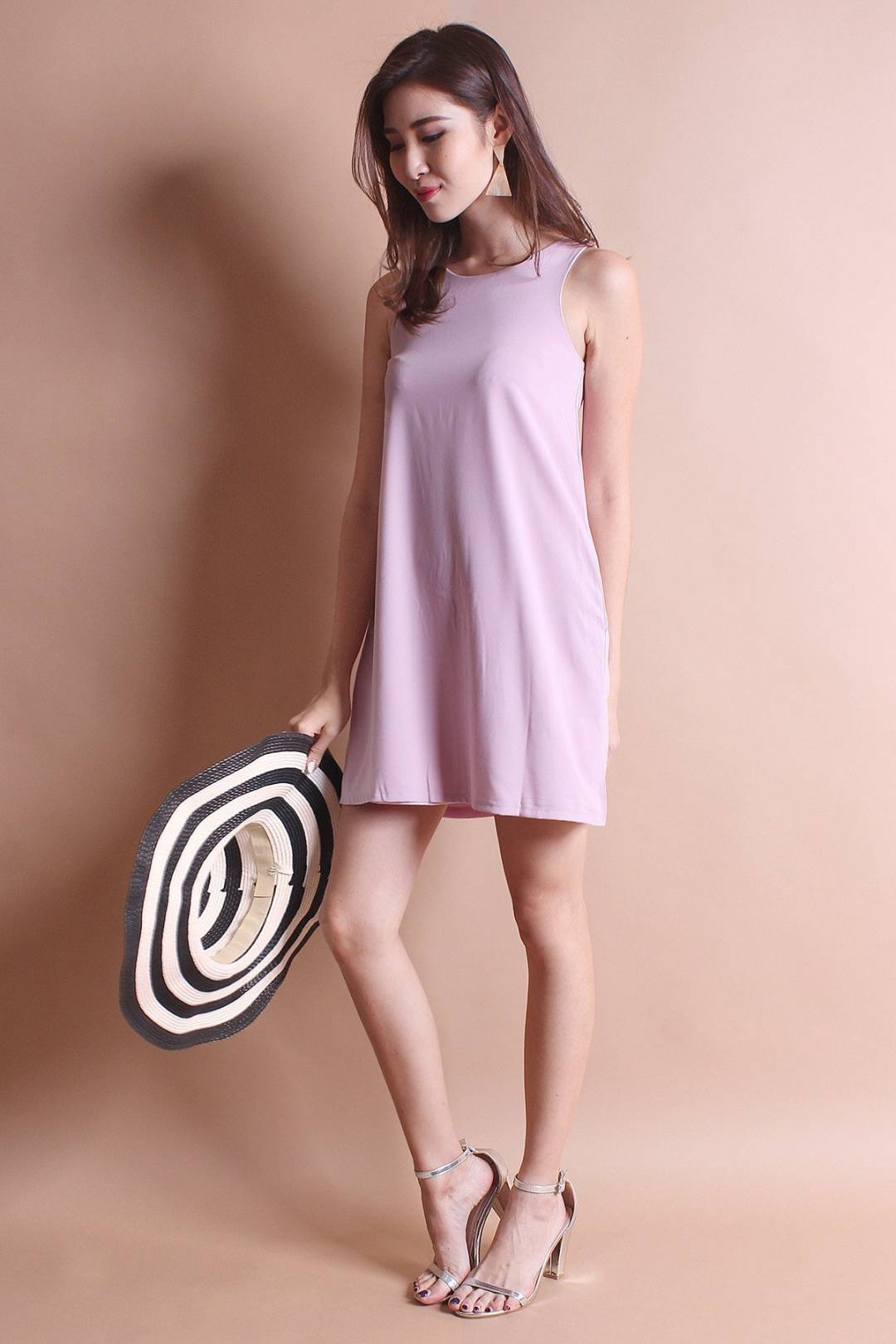 NM BASICS BERNETTE POCKETFUL TRAPEZE IN DUSTY PINK [XS/S/M]