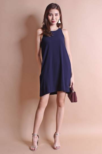 RESTOCKED** NM BASICS BERNETTE POCKETFUL TRAPEZE IN NAVY BLUE [XS/S/M/L]