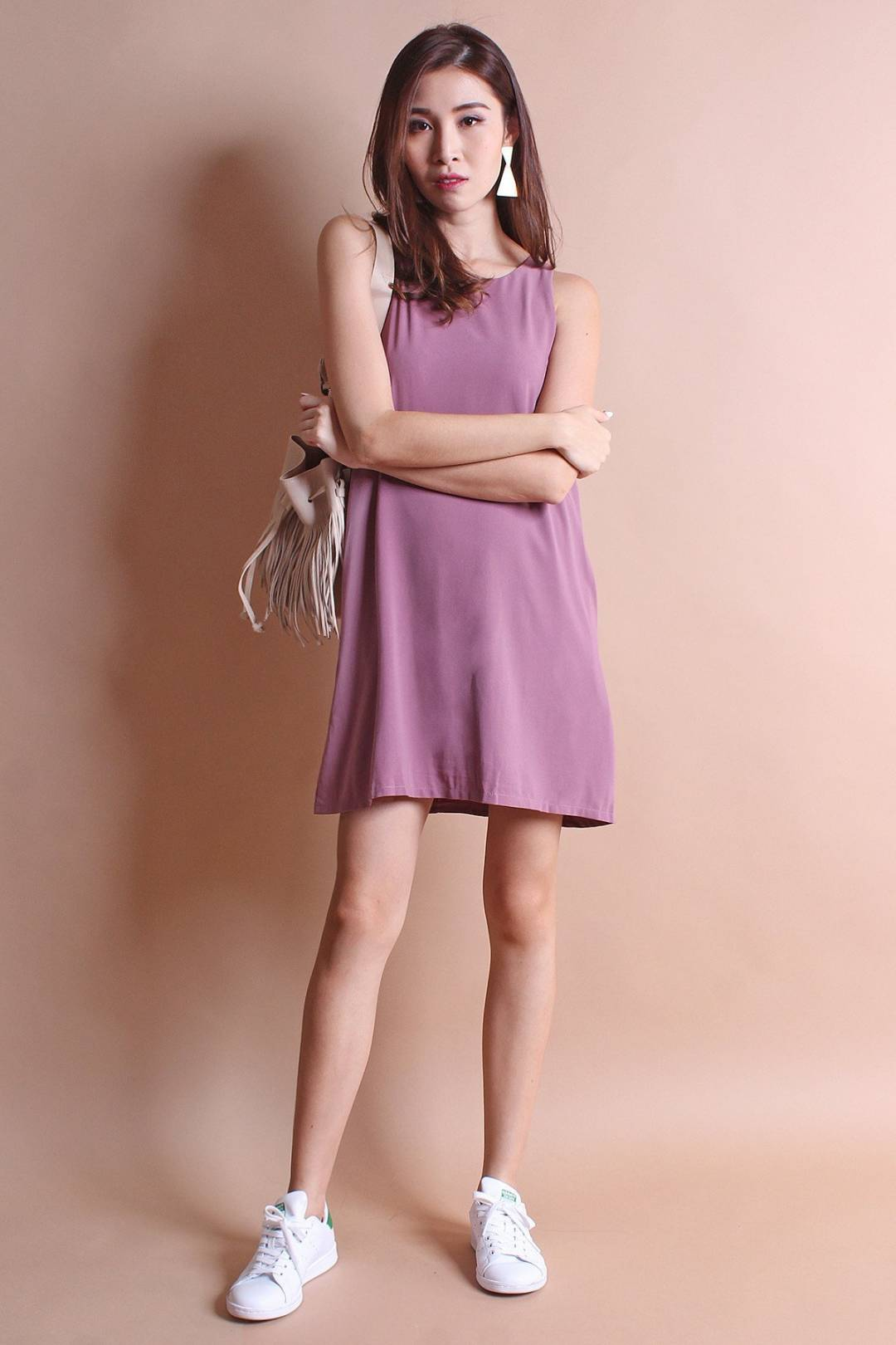 RESTOCKED** NM BASICS BERNETTE POCKETFUL TRAPEZE IN ROSE MAUVE [XS/S/M/L]