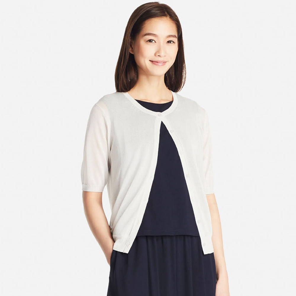 WOMEN Light Crew Neck Short Sleeve Cardigan - ShopperBoard