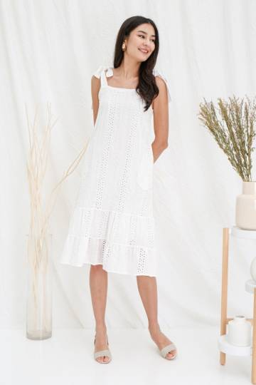 Stringing Sycamores Eyelet Tier Midi Dress White