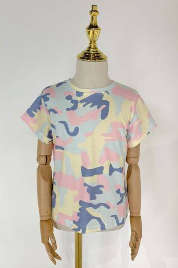 Beyonce Camo Tee in Yellow Blue - Kids Size