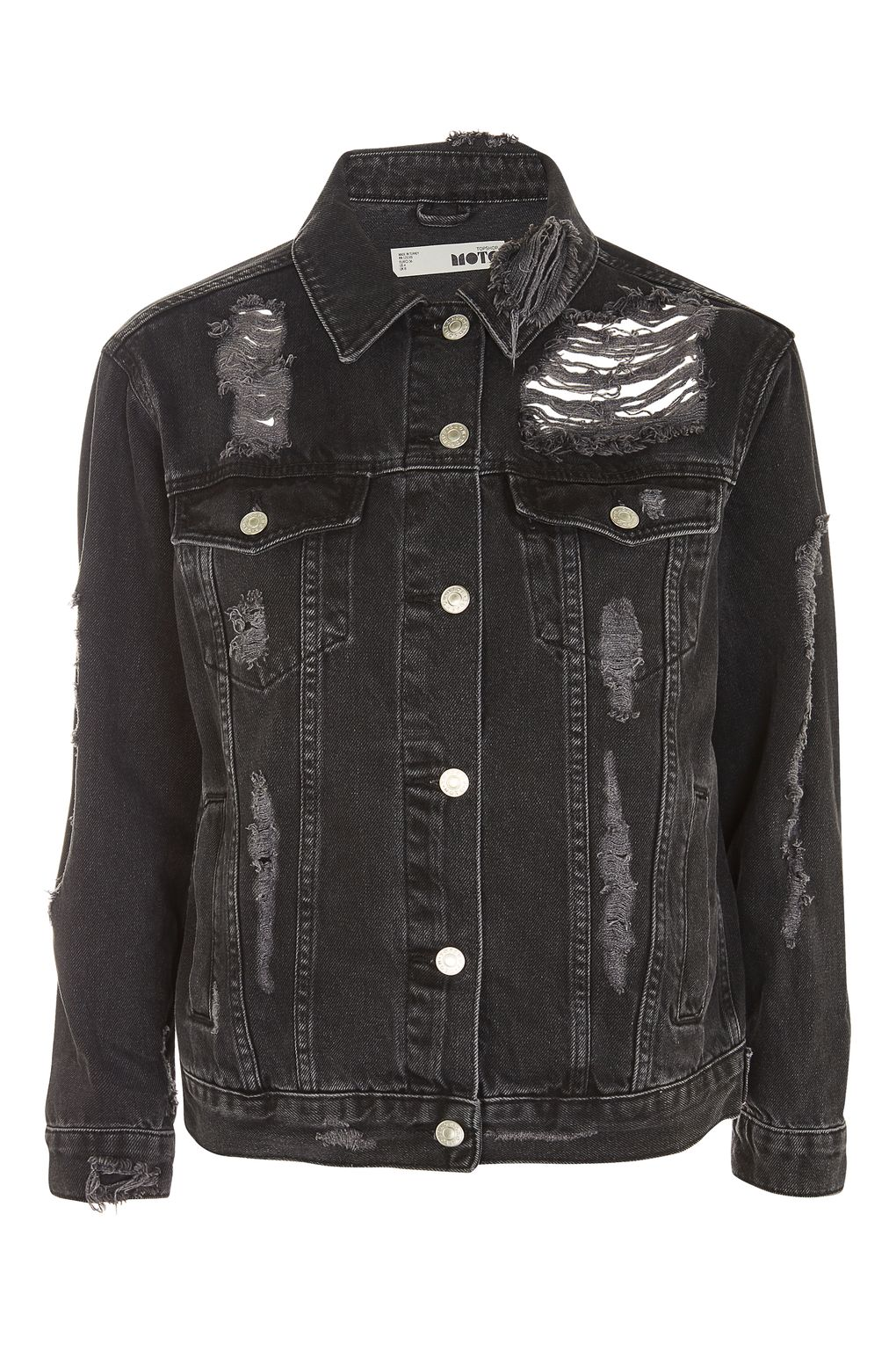 3b2c51bf605 MOTO Extreme Ripped Denim Jacket - ShopperBoard