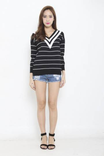 *RESTOCKED* V for Varsity Knit Sweater Black