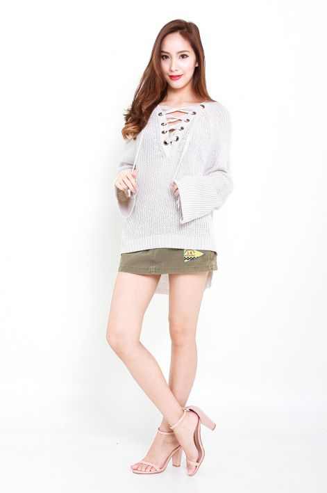 *RESTOCKED* Cosy up in Laceup Knit Sweater Cream