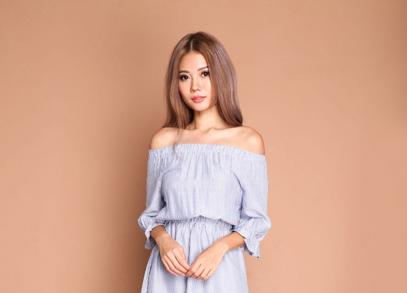*RESTOCKED* Peasantly Pinstriped Offshoulder Frock