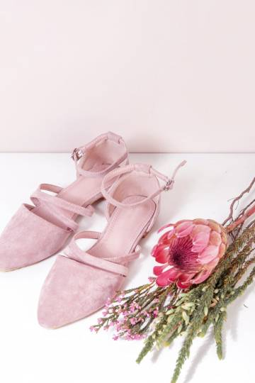 ALEA Pointed Cross Front Flats (Mauve)
