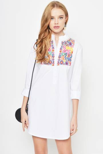 JUEN EMBROIDERED SHIRT DRESS WHITE