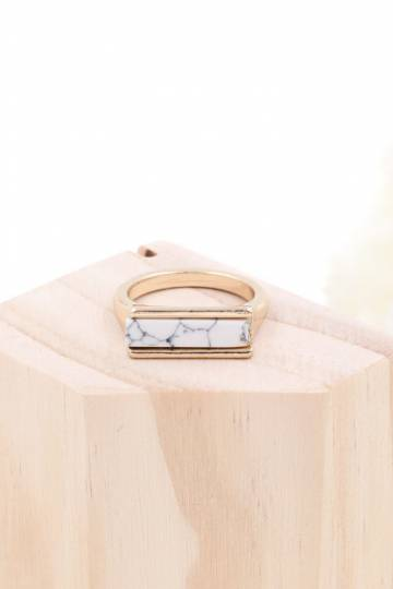 Minimalist Marble Ring - White Bar (Restocked)
