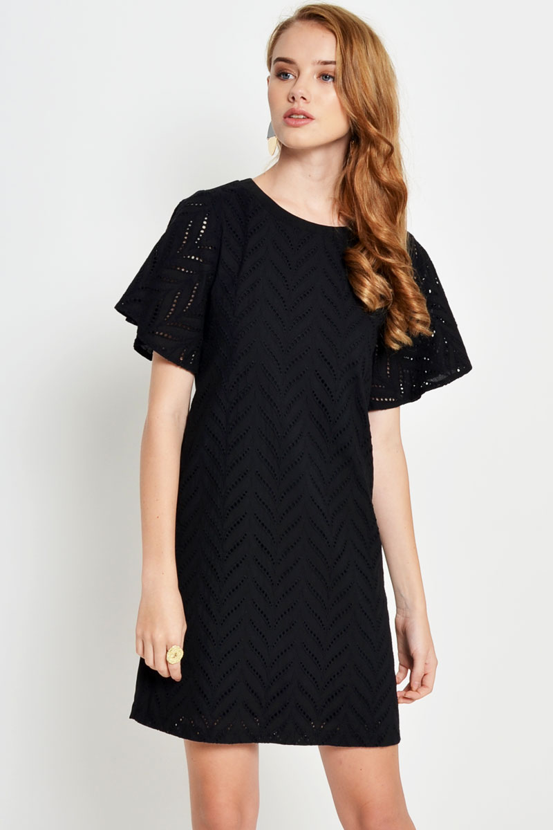 CRESSIDA EYELET SHIFT DRESS BLACK