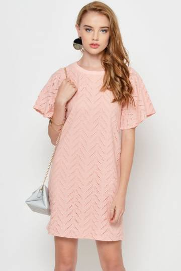 CRESSIDA EYELET SHIFT DRESS PINK