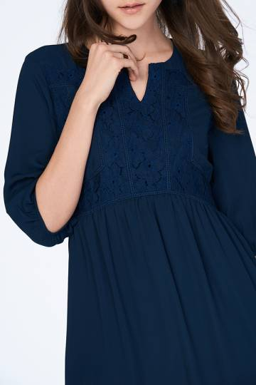 Adela Babydoll Dress in Navy
