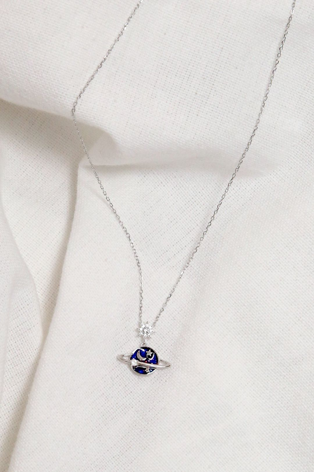 Starry Saturn Necklace (Silver)