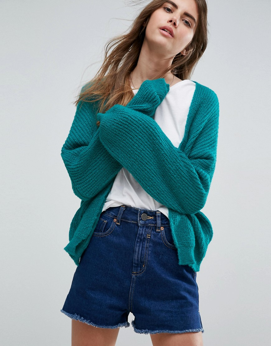 ASOS Chunky Cardigan In Fluffy Rib