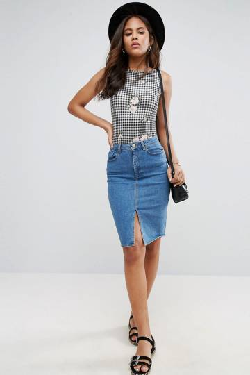 ASOS TALL Gingham Print Low Back Body