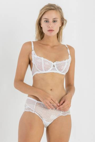 Sailor Half Moon Bralette Set in White