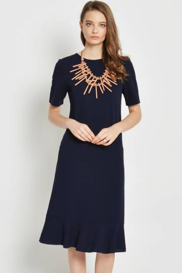 JASMYN DROPWAIST MIDI DRESS NAVY