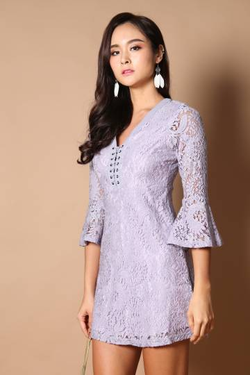 Zoey Lace Up Dress in Dusty Lilac