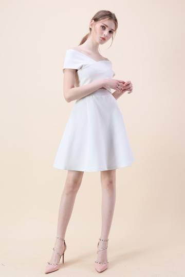 338f346fd89 Concise Classy Off-shoulder Dress in White - ShopperBoard
