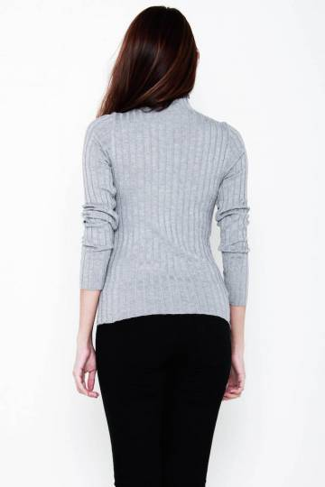 Brooke Turtle-Neck Ribbed Knit LS Top in Grey