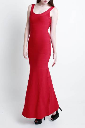 PREMIUM Middleton Bandage Mermaid Maxi Dress in Red - *INSTOCKS