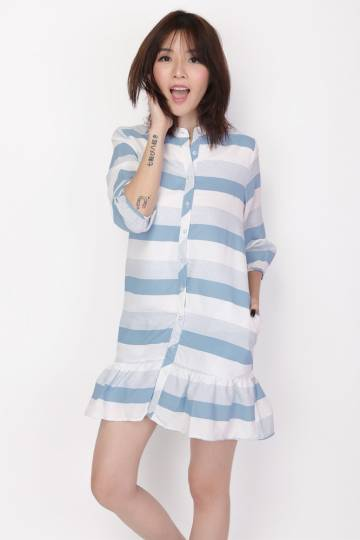 SELBY STRIPED SHIRT ROMPER IN SKY