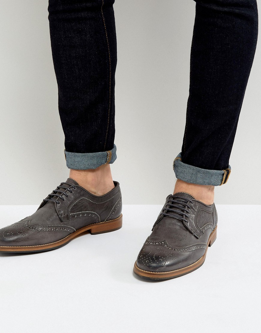 ASOS DESIGN Brogue Shoes In Suede With Natural Sole