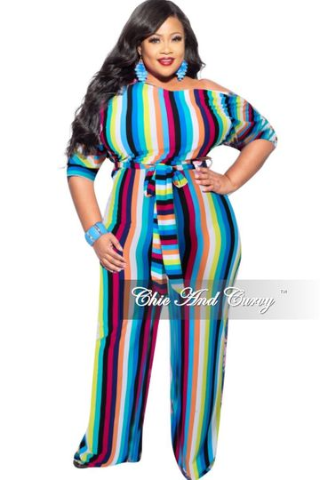 New Plus Size Off the Shoulder Jumpsuit with Tie in Multi-Color Stripes Print