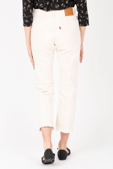Levi's: 501 Original Cropped Jeans in Neutral Ground White