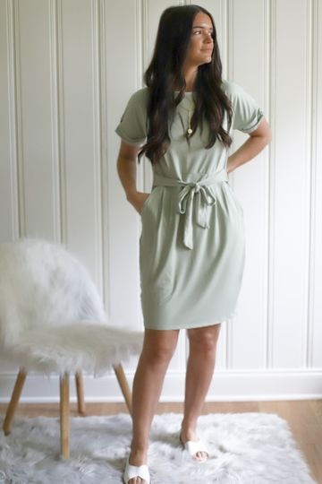 Simply True Tie Dress (Light Green) - ONLY XL LEFT