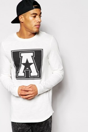 ASOS Longline Long Sleeve T-Shirt With A Print In Textured Fabric