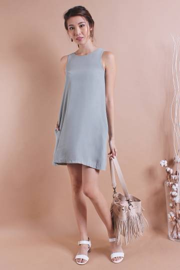 RESTOCKED** NM BASICS BERNETTE POCKETFUL TRAPEZE IN DUSTY GREEN [XS/S/M/L]